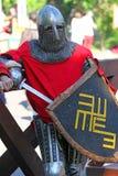Średniowieczny rycerz przed bitwą Portret Obrazy Stock