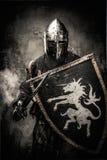 Średniowieczny rycerz w pełnej zbroi Zdjęcie Royalty Free