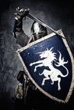 Średniowieczny rycerz w pełnej zbroi Obraz Royalty Free