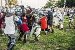 Średniowieczny rycerzy walczyć obraz stock