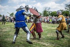 Średniowieczny rycerzy walczyć zdjęcie stock