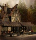 Średniowieczny sklep i rynek royalty ilustracja
