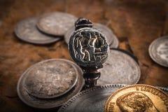 Średniowieczny srebro pierścionek Zdjęcie Stock