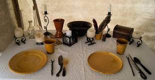 średniowieczny stół Obrazy Stock