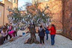 Średniowieczny targowy festiwal w hiszpańskiej wiosce Calonge Fotografia Stock