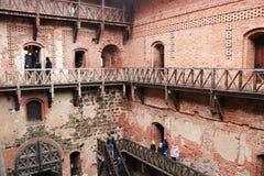 Średniowieczny Trakai kasztel wewnętrzny podwórze obrazy royalty free