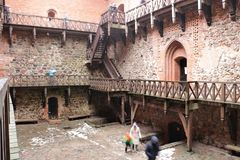 Średniowieczny Trakai kasztel wewnętrzny podwórze fotografia stock