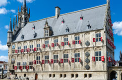 Średniowieczny urząd miasta w Gouda holandie Zdjęcie Stock