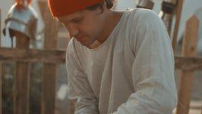 Średniowiecznych rzemieślników połysk żelazny hełm wysoka glosa zbiory