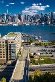 Środek miasta linia horyzontu uwypukla Nowego PRZEZ 57 Zachodniego ostrosłupa jak strzał od Pallisades Av Manhattan Nj obraz royalty free