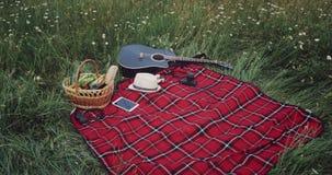 Środek natura pykniczna koc z karmową koszykową gitary fotografii i pastylki kamerą zbiory wideo