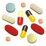 środek przeciwbólowy odosobnione pigułki Fotografia Stock