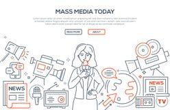 Środków masowego przekazu dzisiaj - nowożytna kreskowa projekta stylu ilustracja royalty ilustracja