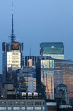Środka miasta Manhattan budynki przy zmierzchem Zdjęcia Stock