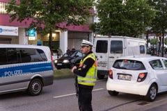 Środki bezpieczeństwa i milicyjne kontrola podczas Kieler Woche 2017 Obraz Stock