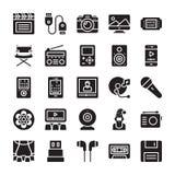 Środki i rozrywka glifu ikony ilustracja wektor