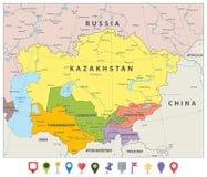 Środkowa Azja Polityczna mapa i płaskie map ikony royalty ilustracja