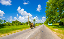 ŚRODKOWA droga KUBA, WRZESIEŃ, - 06, 2015: Koń i Zdjęcia Royalty Free