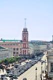 Środkowa droga na Nevsky perspektywie i - panorama ptaków oka widok obraz royalty free