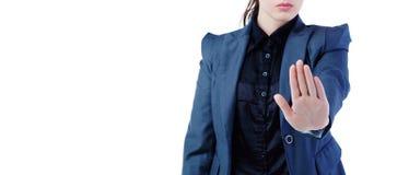 Środkowa sekcja robi przerwie podpisywać na białym tle młody bizneswoman, ostrość na palmie Zdjęcie Stock