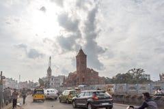 Środkowa stacja kolejowa, Chennai, India, Sierpień 25 2017: Widok sławni punkty zwrotni lubi południowego kolejowego budynek Zdjęcia Royalty Free