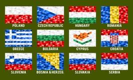 Środkowe i Południowe Europa niskie poli- flaga Fotografia Royalty Free