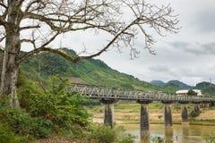 Środkowego średniogórza Tay Nguyen scena w Wietnam z starym mostem nad prawie suchą rzeką i wysokim drzewem na przedpolu fotografia royalty free