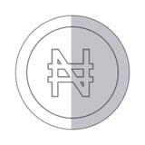 środkowego cienia monochromatyczny okrąg z waluta symbolem nigeryjski naira ilustracji