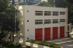 Środkowego posterunku straży pożarnej Hong Kong centrum finansowego linii horyzontu Środkowy drapacz chmur Obrazy Royalty Free