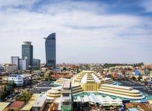 Środkowego rynku punktu zwrotnego widok w phnom penh mieście Cambodia Fotografia Stock