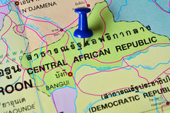 Środkowo-afrykański erpublic mapa zdjęcie stock