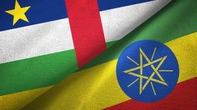 ?rodkowo-afryka?ski republika i Etiopia dwa flagi tekstylny p??tno, tkaniny tekstura obrazy royalty free