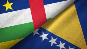 ?rodkowo-afryka?ski republiki, Bo?nia i Herzegovina dwa flag tkaniny p??tno obraz royalty free