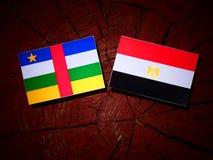 Środkowo-afrykański republiki flaga z egipcjanin flaga na drzewnym fiszorku Obrazy Stock