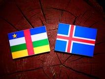 Środkowo-afrykański republiki flaga z Islandzką flaga na drzewie stum zdjęcia royalty free