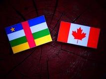Środkowo-afrykański republiki flaga z kanadyjczyk flaga na drzewnym fiszorku odizolowywającym obraz royalty free