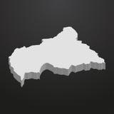 Środkowo-afrykański republiki mapa w szarość na czarnym tle 3d Zdjęcie Royalty Free