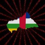 Środkowo-afrykański republiki mapy flaga na czerwonej hex kodu wybuchu ilustraci Zdjęcia Stock