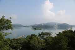 środkowy błogi jeziorny księżyc gór miejsca relaksu odpoczynku słońce Taiwan szczerze Obrazy Royalty Free