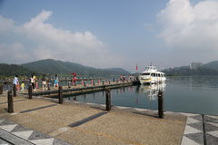 środkowy błogi jeziorny księżyc gór miejsca relaksu odpoczynku słońce Taiwan szczerze Obrazy Stock
