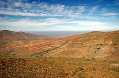 Środkowy Fuerteventura, wyspy kanaryjska, widok północ od Mirador De Postać y Ayose Zdjęcie Stock