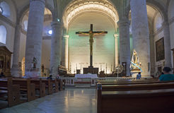 Środkowy katedralny wnętrze, Merida, Jukatan Meksyk Zdjęcie Royalty Free