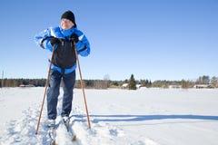 środkowy mężczyzna starzejący się narciarstwo Obrazy Royalty Free