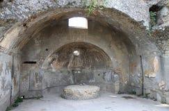 Środkowy Thermae w Romańskim Herculaneum, Włochy zdjęcie royalty free