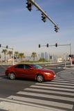 Środkowy Wschód, Katar, Doha, ruch drogowy na Corniche & Zachodni Podpalany Środkowy Pieniężny okręg, Fotografia Royalty Free