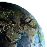Środkowy Wschód na ziemi przy półmrokiem Obrazy Stock