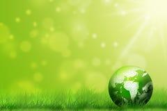 Środowiska pojęcie, szklana kula ziemska w trawie Zdjęcie Royalty Free
