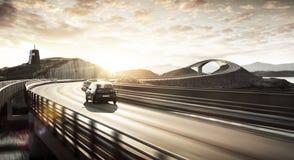 Środowisko życzliwy elektryczny samochód na drodze Obrazy Royalty Free