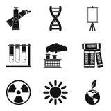 Środowisko nauki ikony ustawiać, prosty styl royalty ilustracja
