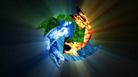 Środowiskowa konserwacja z Ziemską planetą, przetwarza pojęcie, akcyjny materiał filmowy